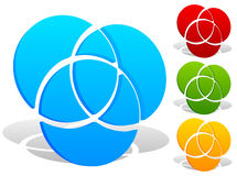 Overlapping circles icon - Contour of 3 overlapping, intersectin Royalty Free Stock Photos