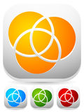 Overlapping circles icon - Contour of 3 overlapping, intersectin Royalty Free Stock Photo