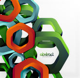 Overlapping hexagons design background Stock Images