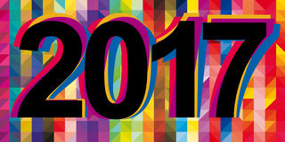 Overlapping multicolor New Year numerals. On a low poly colorful background design Stock Image