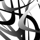 Overlapping random curved lines / shapes grayscale geometric pat Royalty Free Stock Photo
