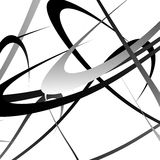 Overlapping random curved lines / shapes grayscale geometric pat Stock Image