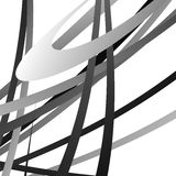 Overlapping random curved lines / shapes grayscale geometric pat Stock Images