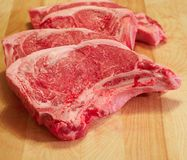 Overlapping strip steaks Royalty Free Stock Images