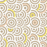 Overlapping striped circles seamless vector pattern. Stock Photography