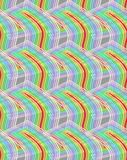 Overlapping wavy rainbow shapes on grey background, seamless vector retro patterns. Vector EPS 10 Stock Photos