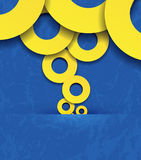 Overlapping yellow circles on a blue background Royalty Free Stock Image