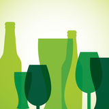 Overlay beer bottle and glass St. Patrick's Day card in vector f Royalty Free Stock Photos