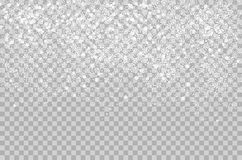 Overlay Falling shining snow isolated on the transperant alpha background. Vector Snowflake snowfall. Beautiful snow Stock Image