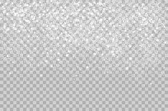 Overlay a neve de brilho de queda isolada no fundo alfa transperant Queda de neve do floco de neve do vetor Neve bonita ilustração royalty free