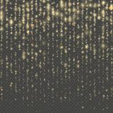 Overlay transparent glitter threads of curtain backdrop. Christmas and New Year effect. Gold particles lines rain. Fashion strass drops with shiny sequins vector illustration