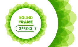 Overlay Waves - Round Spring Frame. Curved vector lines forming semitransparent abstract overlaying wavy frame with text and round button inside - spring green royalty free illustration