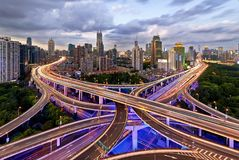 Nine Dragons, Shanghai. The overlaying elevated highway, like the Chinese traditional dragons travelling through the city Royalty Free Stock Images