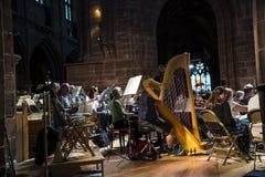Overlegrepetitie in de kathedraal in Chester in Engeland stock fotografie