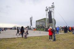 Overlegscène bij het Krasnodar-vliegveld Het vieren van de dag van de verdediger van het vaderland Stock Fotografie