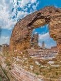Overlevend metselwerk in Wat Phia Wat Xieng Khuang, Laos stock fotografie