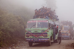 Overload Bus In Mist Nepal Royalty Free Stock Photo