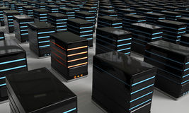 Overload Server. 3D rendered illustration of blue led Network Servers arranged in a grid formation, with a unique, red led server among them Royalty Free Stock Image