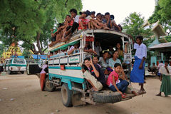 Overload truck in Myanmar. Overload truck full of pilgrims at Monywa temples in Myanmar Royalty Free Stock Image