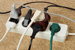 Overloaded extension cord Royalty Free Stock Photos
