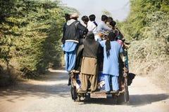 An overloaded mini van. Somewhere near Quaidabad, Khushab, Pakistan Stock Photo