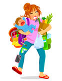 Overloaded mom. Stressed woman carrying a crying baby and a lot of luggage Royalty Free Stock Photos