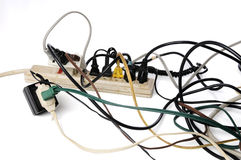 Overloaded power strip Stock Image