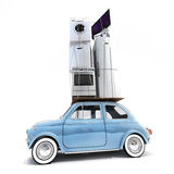 Overloaded retro car. 3D rendering of a small retro car carrying household electrical appliances Royalty Free Stock Photography