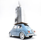 Overloaded retro car. 3D rendering of a small retro car carrying household electrical appliances Stock Images