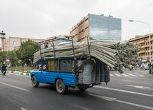 Overloaded truck with tubes royalty free stock photo