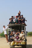 Overloaded vehicle in Myanmar Royalty Free Stock Photo