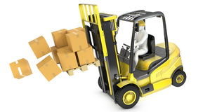 Overloaded yellow fork lift truck falling forward Stock Photo