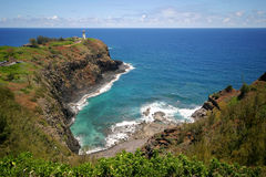 Overlook. Lighthouse overlooking the ocean on a cliff in Hawaii Royalty Free Stock Images
