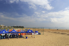 Overlook beach volleyball court of guanyinshan business center Royalty Free Stock Photography