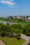 Overlook of campus lake Royalty Free Stock Image
