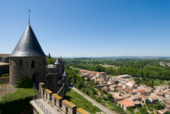 Overlook at the carcassonne chateau. Carcassone is a fortified chateau in Aude south france. This showed tower,stone wall and landscape of Carcassone City Royalty Free Stock Images