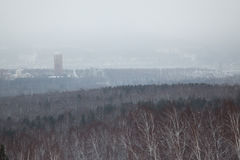 Overlook on  city in the winter afternoon Royalty Free Stock Photo