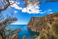 Cliffs Tasmania. Spectacular views of the cliffs, ocean and Penguin Island during the trek Fluted Cape within the South Bruny National Park Bruny Island stock photography