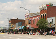 Overlook of downtown during a parade in small town America stock photo