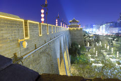 Overlook the gate of the ancient city of xian in the evening, adobe rgb Royalty Free Stock Images