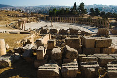 Overlook from Great Temple of Zeus on Oval Plaza ancient city Jerash, Jordan. Tourist attraction, vacation and sightseeing concept. Photo of the Overlook from Royalty Free Stock Photography