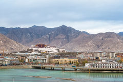 Overlook of the lhasa city at dusk Royalty Free Stock Images