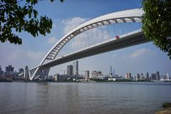 Overlook Lupu Bridge in Shanghai, China. 。It looks like a rainbow, is Shanghai`s landmark.It is located south of Shanghai across the Huangpu River in the Lu Pu Stock Image