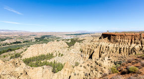 Overlook over rugged eroded valley near Guadix Spain Stock Photo