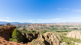 Overlook over rugged eroded valley near Guadix Spain Royalty Free Stock Photography