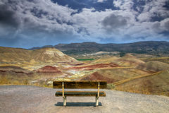 The Overlook at Painted Hills in Oregon USA. Bench along the hiking trail at the Overlook at Painted Hills in Eastern Oregon USA stock photos