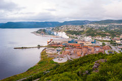 Overlook of the pulp and paper mill in Corner Brook, Newfoundlan Stock Images