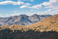 Overlook of Rocky Mountains with plains and pine forest Royalty Free Stock Photos