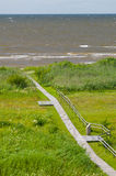 Overlook on seaward wooden boardwalk Royalty Free Stock Images