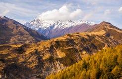 Overlook Siguniang Mountain Royalty Free Stock Photo
